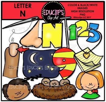 Letter N Clip Art Bundle {Educlips Clipart}