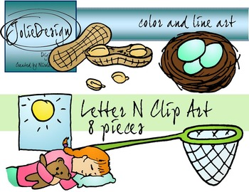 Letter N Clip Art - Color and Line Art 8 pc set