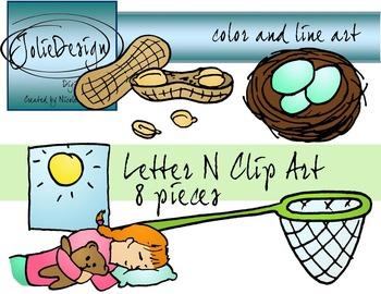 Letter N Clip Art - Color and Line Art 8 pc set