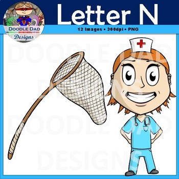 Letter N Clip Art (Nose, Nurse, Nail, Net, Necklace, Newspaper)