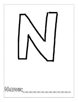 Letter N Color and Trace AlphaBook