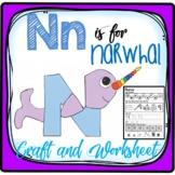 Letter N Craft: Alphabet Craft, Nn Craft, N is for Narwhal Craft & Worksheet
