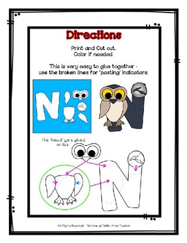 Letter N Craftivity - Night Owl - Zoo Phonics Inspired - Color & BW Versions
