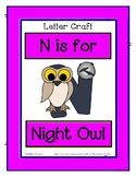 Letter N Craftivity - Night Owl - Zoo Phonics Inspired - C