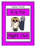 Letter N Craftivity - Night Owl - Zoo Phonics Inspired - C