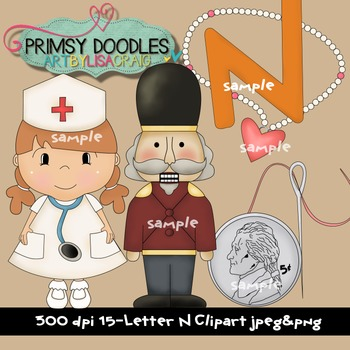 Letter N Early Learning Clipart