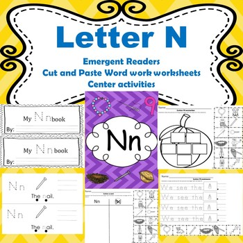 Letter N activites (emergent readers, word work worksheets, centers)