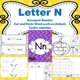 Letter N activites (emergent readers, word work worksheets