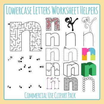 Letter N (Lowercase) Worksheet Helper Clip Art Set For Commercial Use
