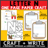 Letter N One Page Paper Crafts - Nest and Noodles with Writing Activities