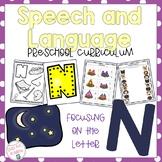 Letter N Speech and Language Preschool Curriculum