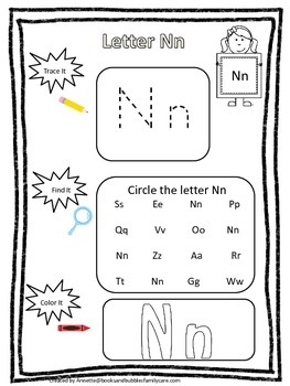 "Letter ""N"" Trace it, Find it, Color it.  Preschool printab"