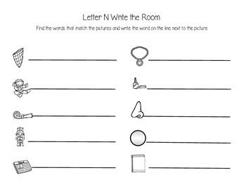 Letter N Write the Room Activities
