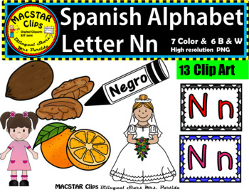 Letter N n Spanish Alphabet Clip Art   Letra Nn Personal and Commercial Use