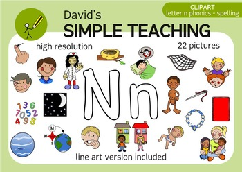 Letter N phonics - spelling clipart with free preview