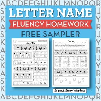 Letter Name Fluency Homework Sampler (FREE)