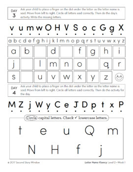 Letter Name Fluency Practice Level D Set 1
