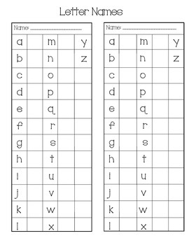 Letter Name Sticker Chart