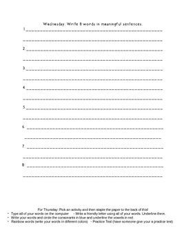 Letter Name Unit 8 Homework