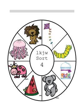 Letter Name Wheel Sort 4 L, K, J, W