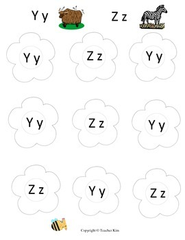 Letter Name and Letter Sound Bingo Game for Alphabet Letters Yy and Zz