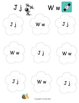 Letter Name and Letter Sound Bingo for Alphabet Letters Jj and Ww