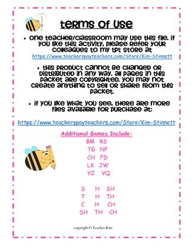 Letter Name and Letter Sound Bingo for Alphabet Letters Tt Hh and Th