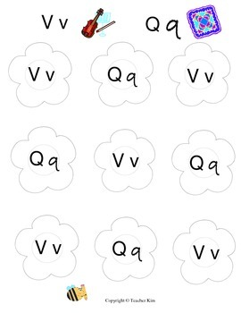 Letter Name and Letter Sound Bingo for Alphabet Letters Vv and Qq