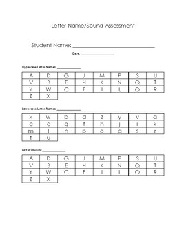 Letter Name and Sound Assessment