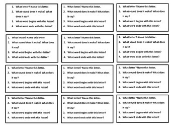 Letter Name and Sound Question Cards