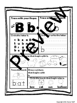 Letter Name and Sound Recognition Notebook