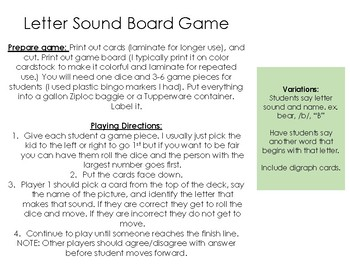 Letter Name from Sound Board Game