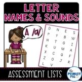 Letter Names & Sounds Assessment Lists