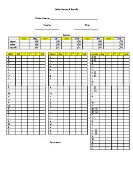 Letter Names & Sounds Recording Chart