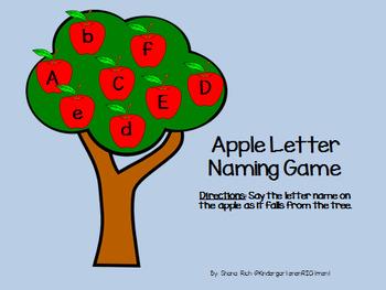 Letter Naming Fluency Apple Game