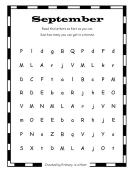 Letter Naming Fluency- Monthly Pages
