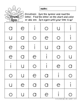 Letter Naming Practice Turkey Trot Spinners