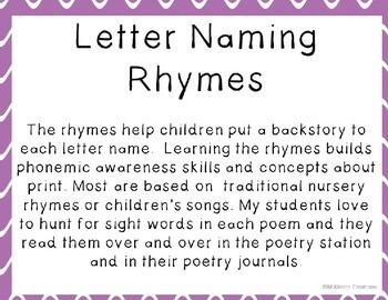 Letter Naming Rhymes N to Z