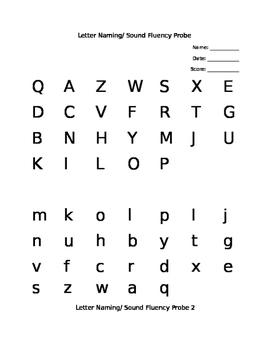 Letter Naming/ Sound Fluency 9 weeks Probes