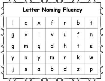 Letter Naming & Sounds Fluency Practice Sheets