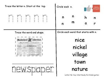 Letter Nn- A Week of Pre-K Practice Activities