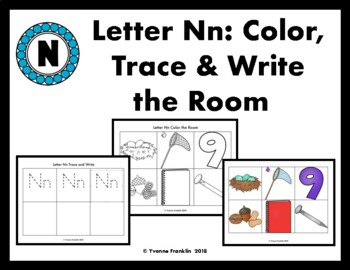 Letter Nn Color, Trace & Write the Room
