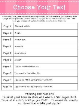 Letter Nn *Editable* Alphabet Emergent Reader