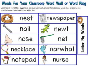 Letter Nn Mini-File Folder Word Wall Activity Pack