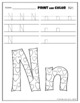 Letter Nn Printing and Pattern Coloring Worksheets