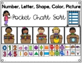 Letter, Number, Color, Shape Pocket Chart Sort