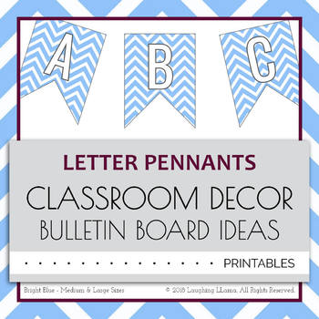 Letter Number Pennants Flags - Chevron Bright Blue - Word Wall