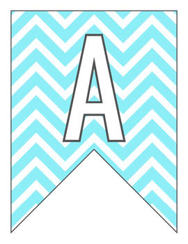 Letter Number Pennants Flags - Word Wall - Chevron Blue