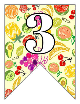 Letter Number Pennants Flags - Doodle Fruit Word Wall