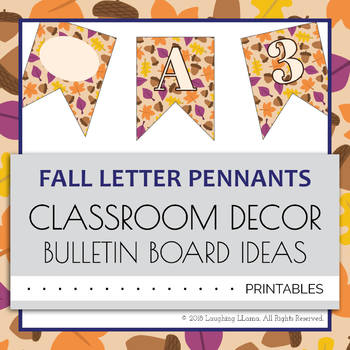 Letter Number Pennants Flags - Fall Autumn Word Wall